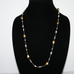 Silver gold and pearl necklace 26""